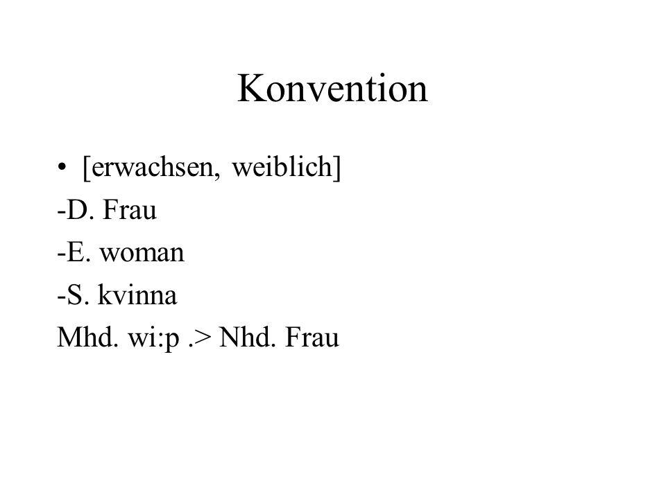 Konvention [erwachsen, weiblich] -D. Frau -E. woman -S. kvinna